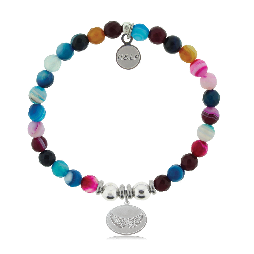 HELP by TJ Angel Wings Charm with Multi Color Agate Beads Charity Bracelet