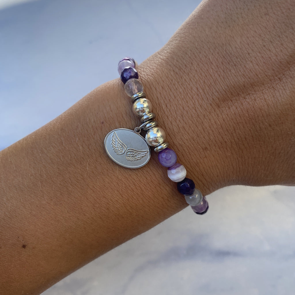 HELP by TJ Angel Wings Charm with Purple Stripe Agate Beads Charity Bracelet