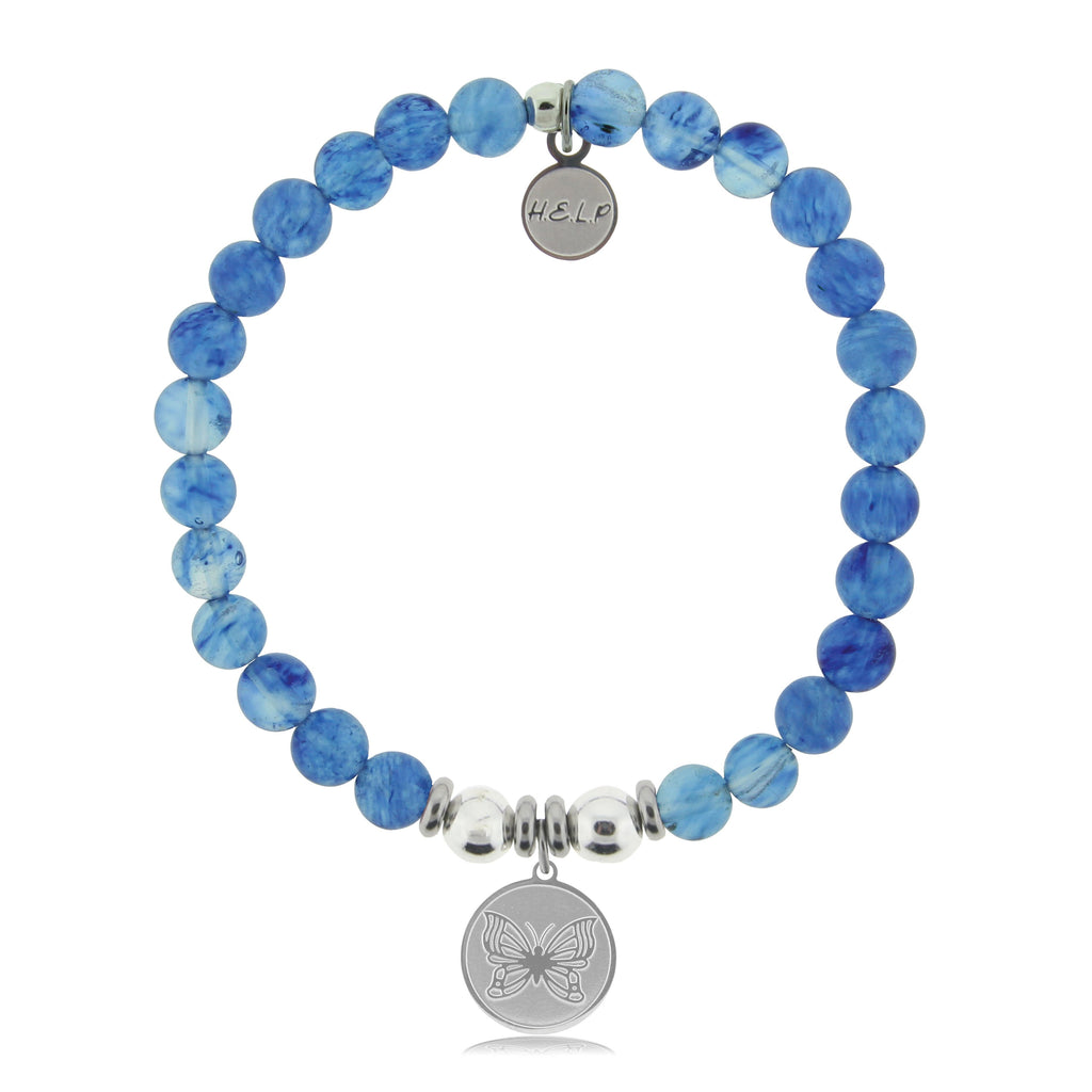 HELP by TJ Butterfly Charm with Blueberry Quartz Beads Charity Bracelet