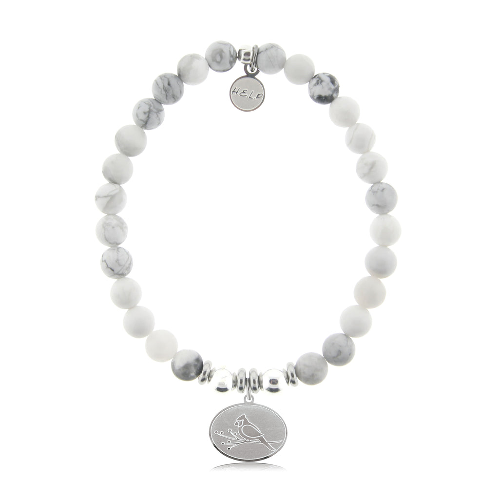 HELP by TJ Cardinal Charm with Howlite Beads Charity Bracelet