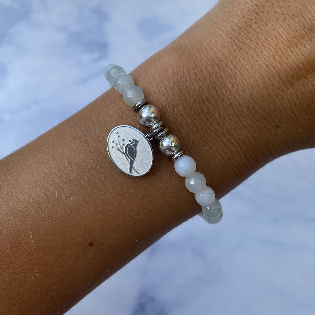 HELP by TJ Cardinal Charm with Light Blue Agate Beads Charity Bracelet