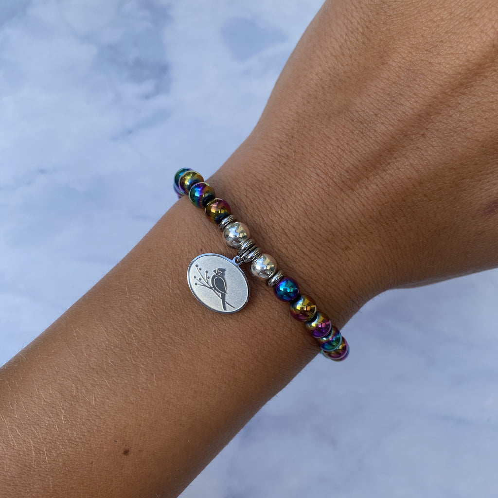HELP by TJ Cardinal Charm with Rainbow Hematite Beads Charity Bracelet