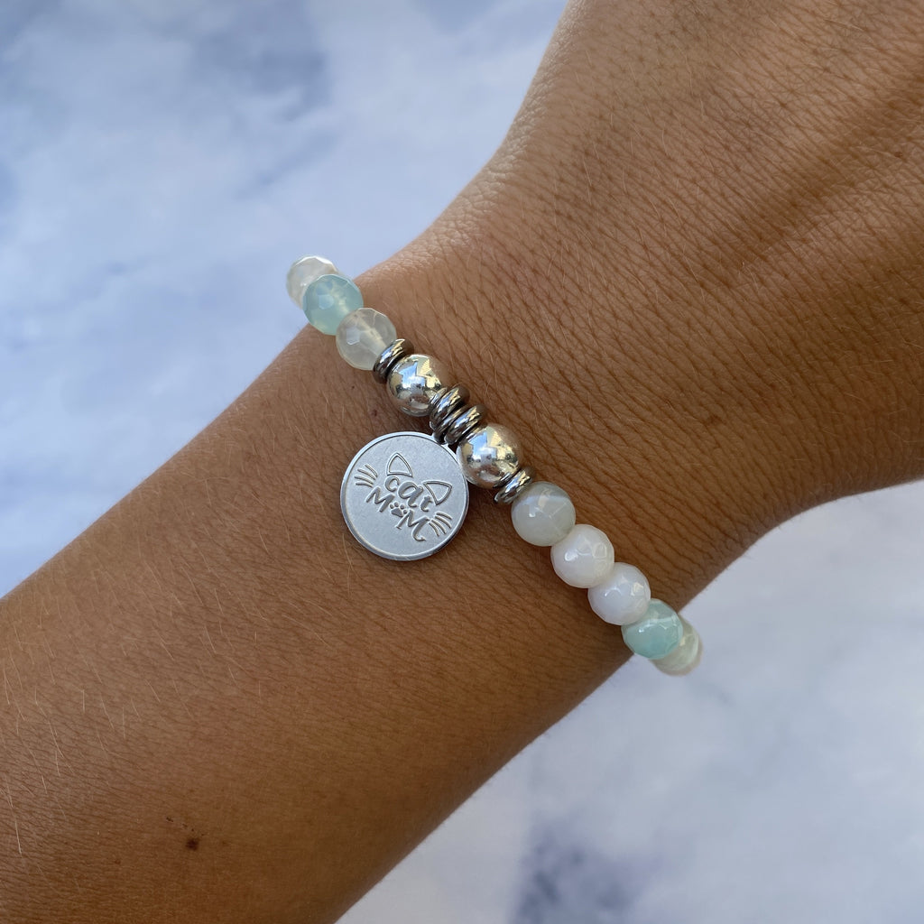 HELP by TJ Cat Mom Charm with Light Blue Agate Beads Charity Bracelet