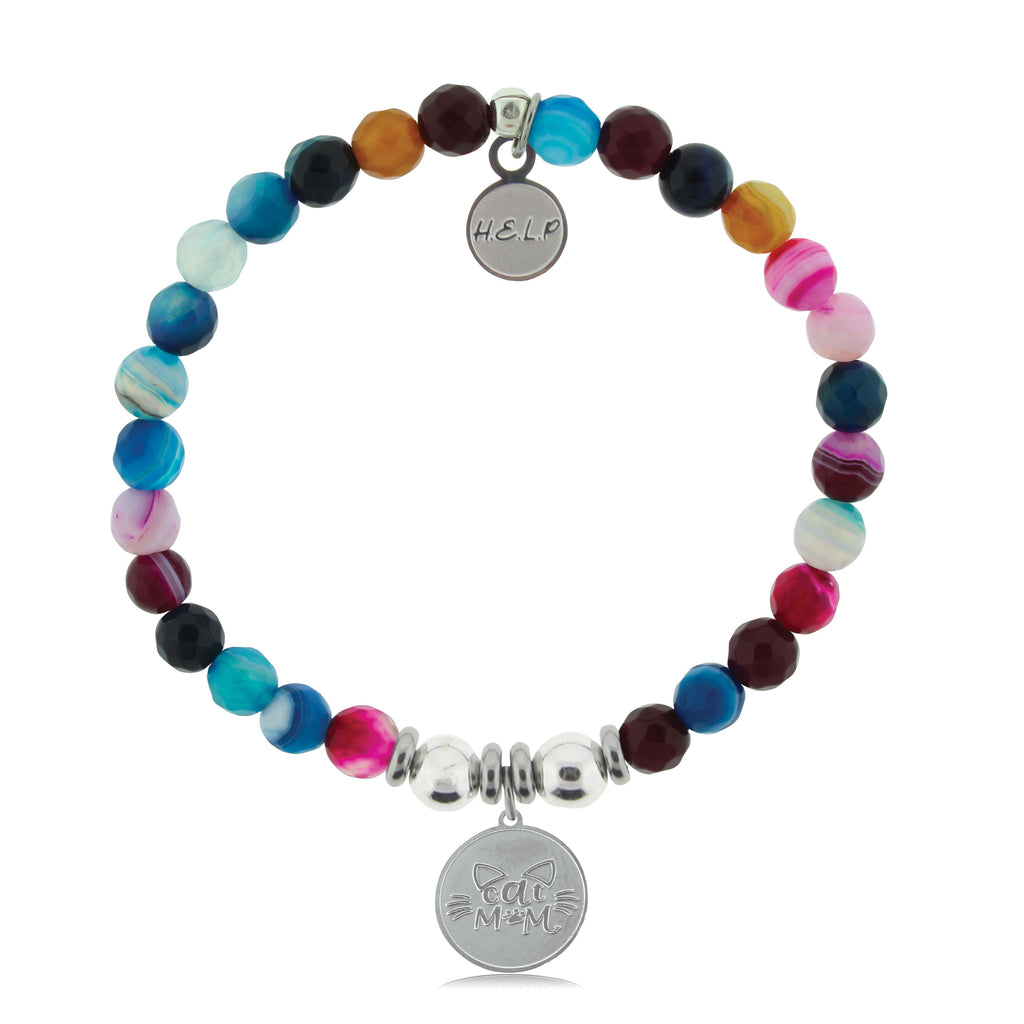 HELP by TJ Cat Mom Charm with Multi Color Agate Beads Charity Bracelet