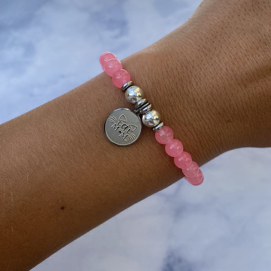HELP by TJ Cat Mom Charm with Pink Agate Beads Charity Bracelet