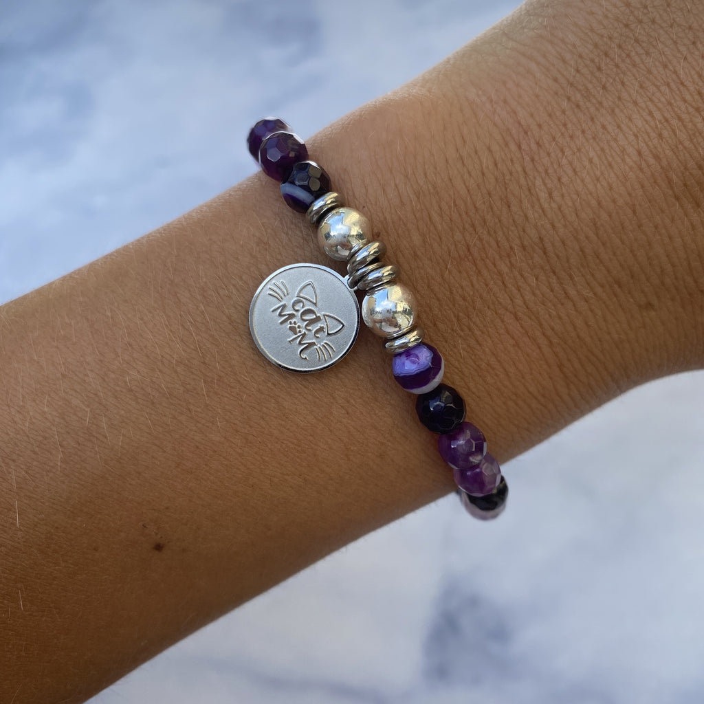 HELP by TJ Cat Mom Charm with Purple Stripe Agate Beads Charity Bracelet