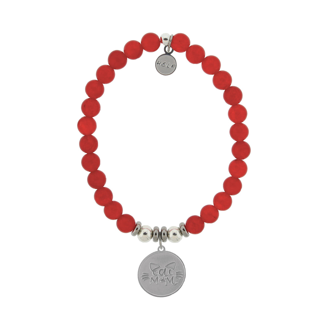 HELP by TJ Cat Mom Charm with Red Jade Beads Charity Bracelet