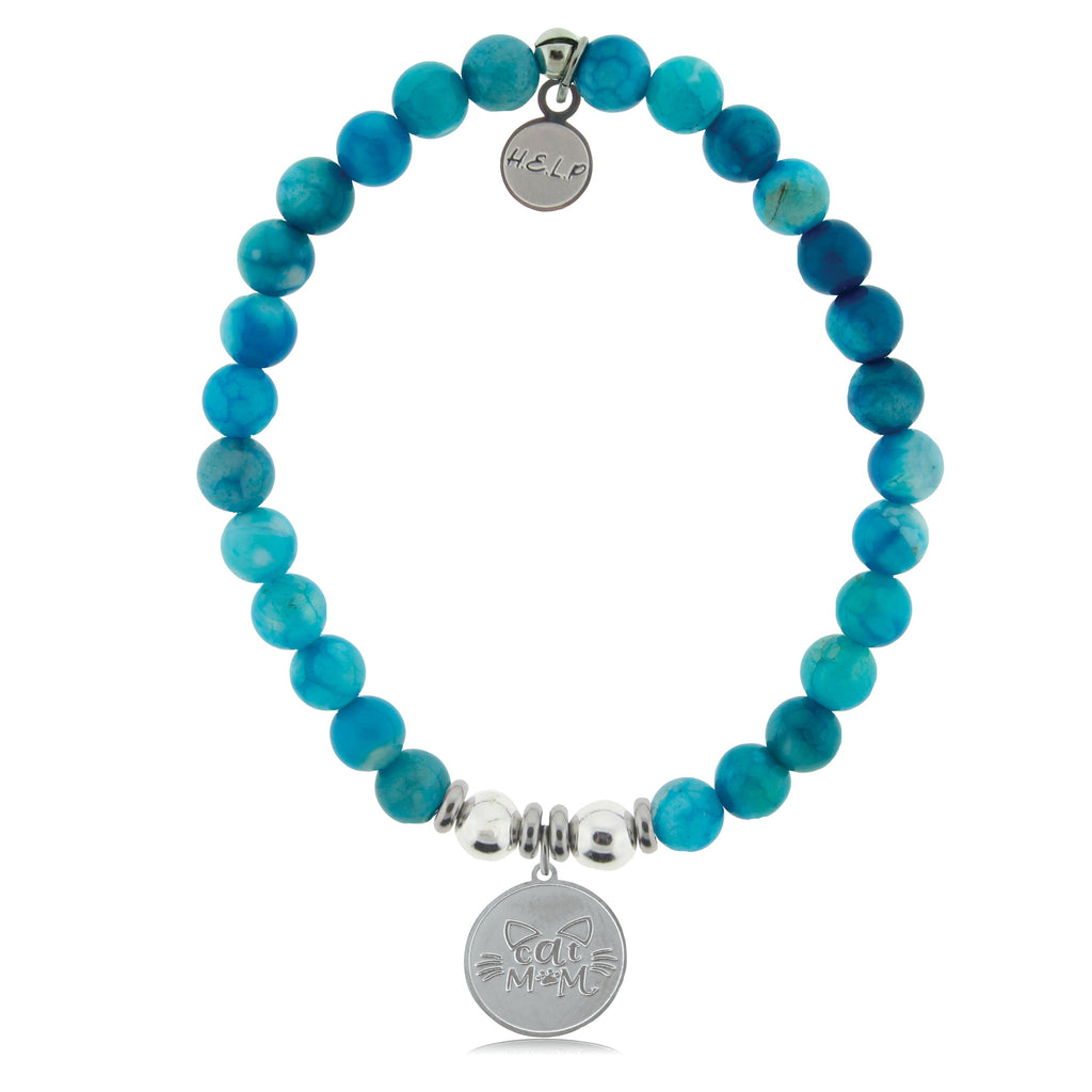HELP by TJ Cat Mom Charm with Tropic Blue Agate Beads Charity Bracelet