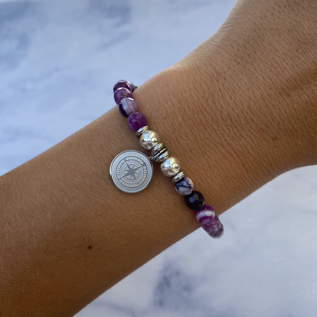 HELP by TJ Compass Charm with Purple Stripe Agate Beads Charity Bracelet