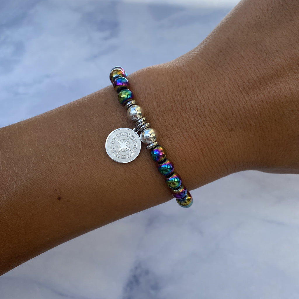 HELP by TJ Compass Charm with Rainbow Hematite Beads Charity Bracelet