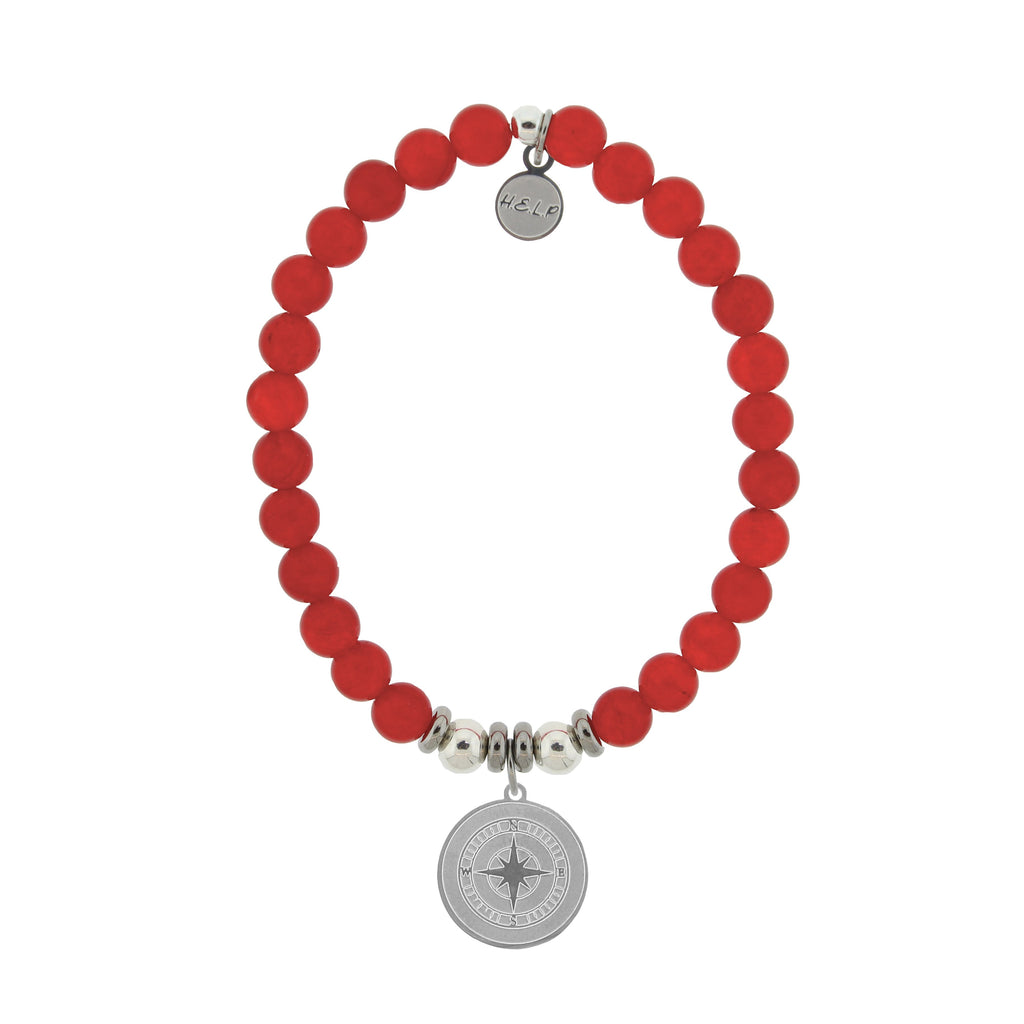 HELP by TJ Compass Charm with Red Jade Beads Charity Bracelet