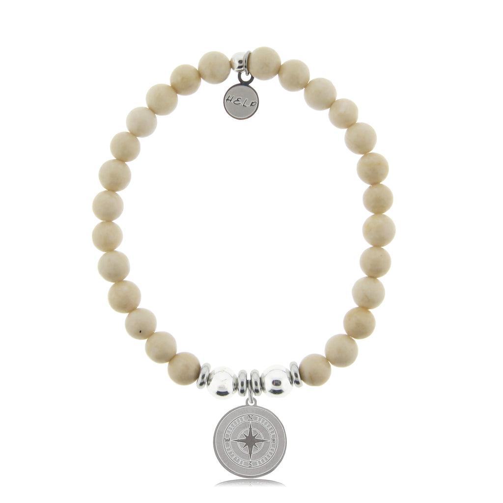 HELP by TJ Compass Charm with Riverstone Beads Charity Bracelet