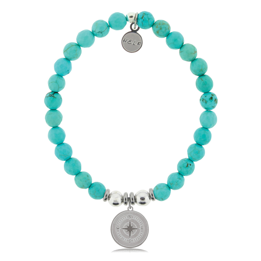 HELP by TJ Compass Charm with Turquoise Beads Charity Bracelet