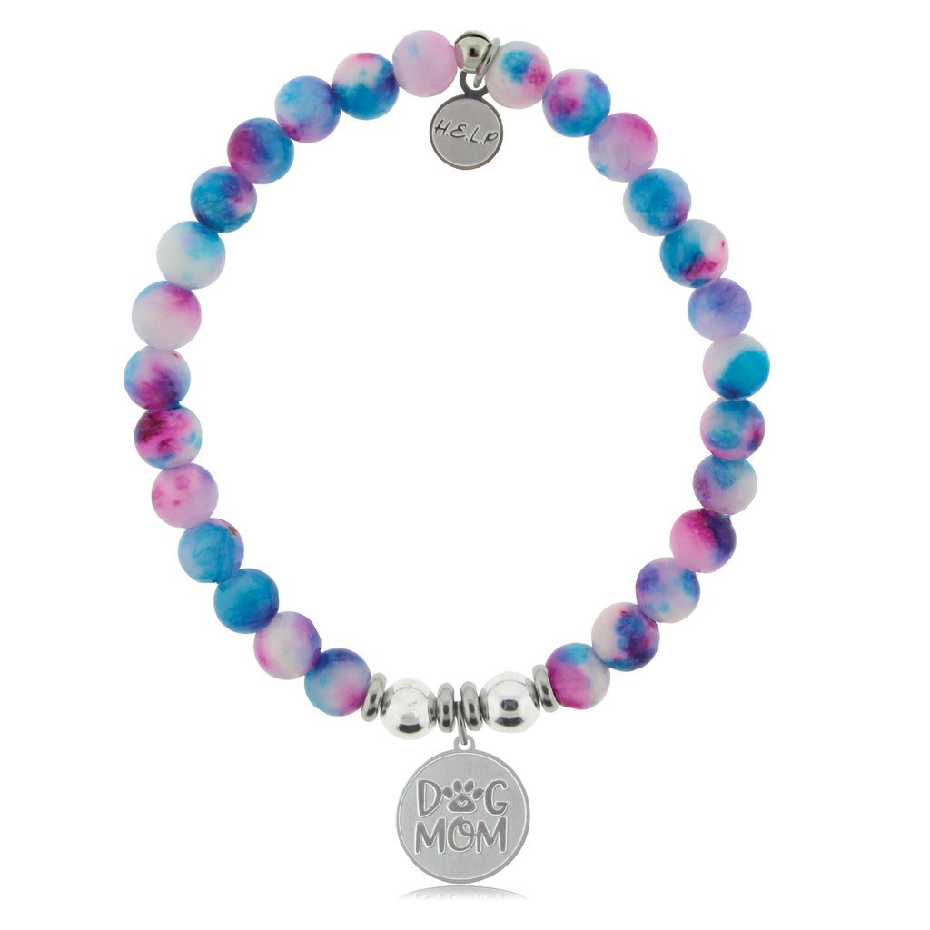 HELP by TJ Dog Mom Charm with Cotton Candy Jade Beads Charity Bracelet