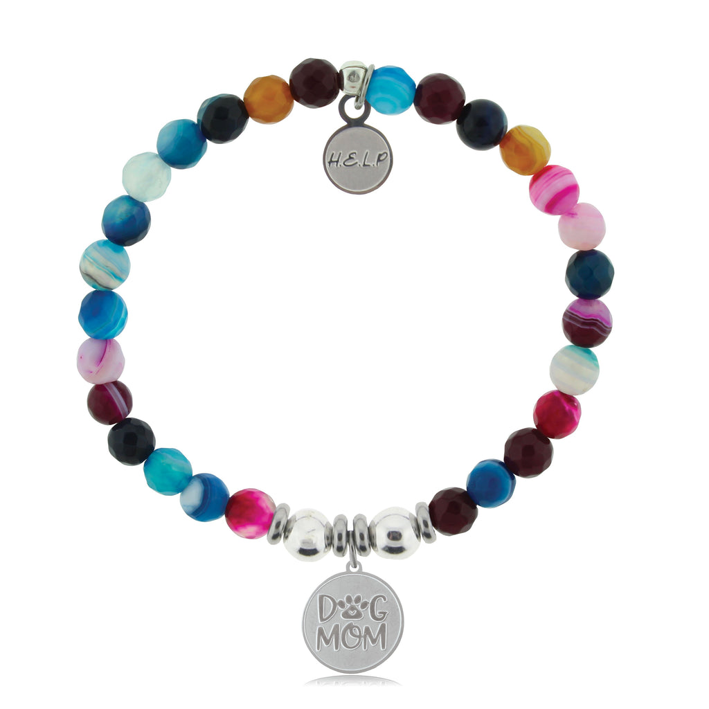 HELP by TJ Dog Mom Charm with Multi Color Agate Beads Charity Bracelet
