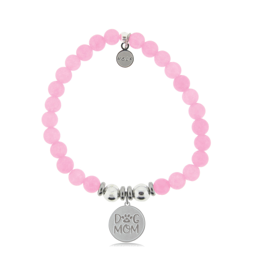 HELP by TJ Dog Mom Charm with Pink Agate Beads Charity Bracelet