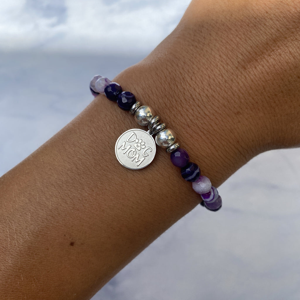 HELP by TJ Dog Mom Charm with Purple Stripe Agate Beads Charity Bracelet