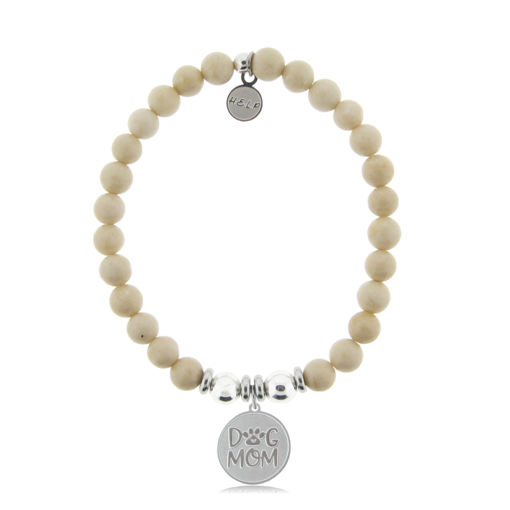 HELP by TJ Dog Mom Charm with Riverstone Beads Charity Bracelet