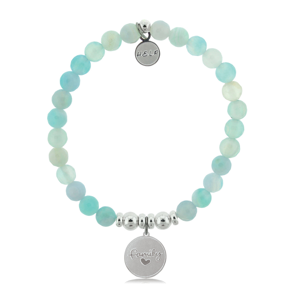 HELP by TJ Family Charm with Aqua Agate Beads Charity Bracelet