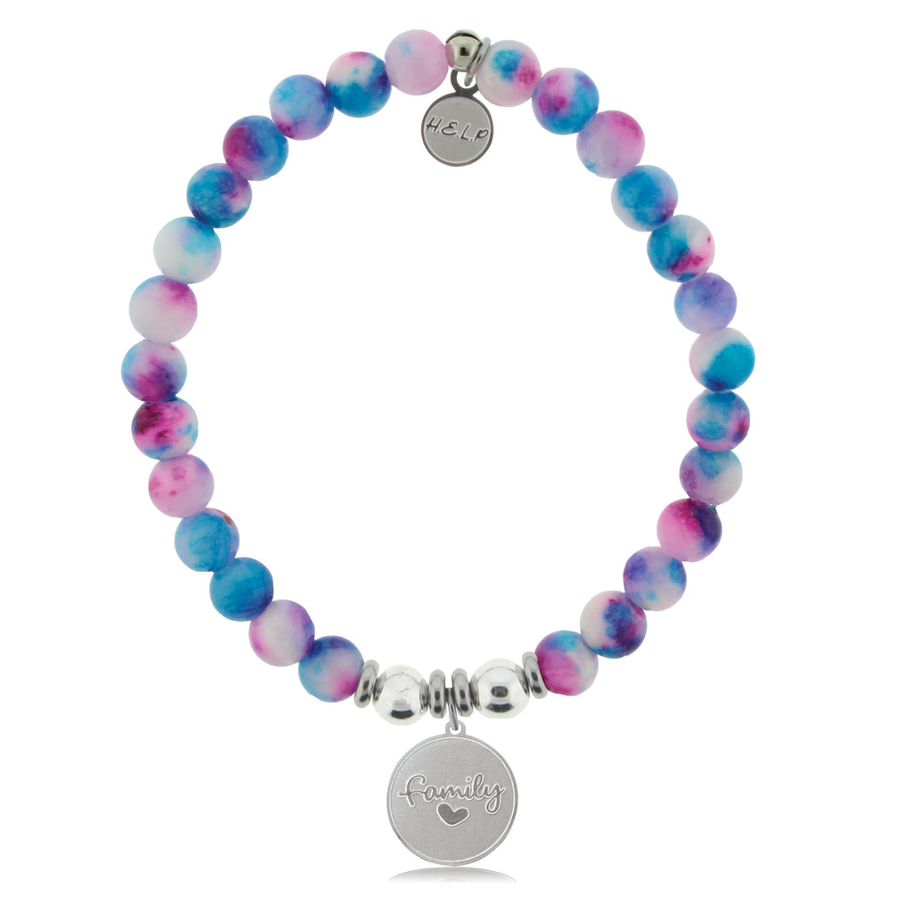 HELP by TJ Family Charm with Cotton Candy Jade Beads Charity Bracelet