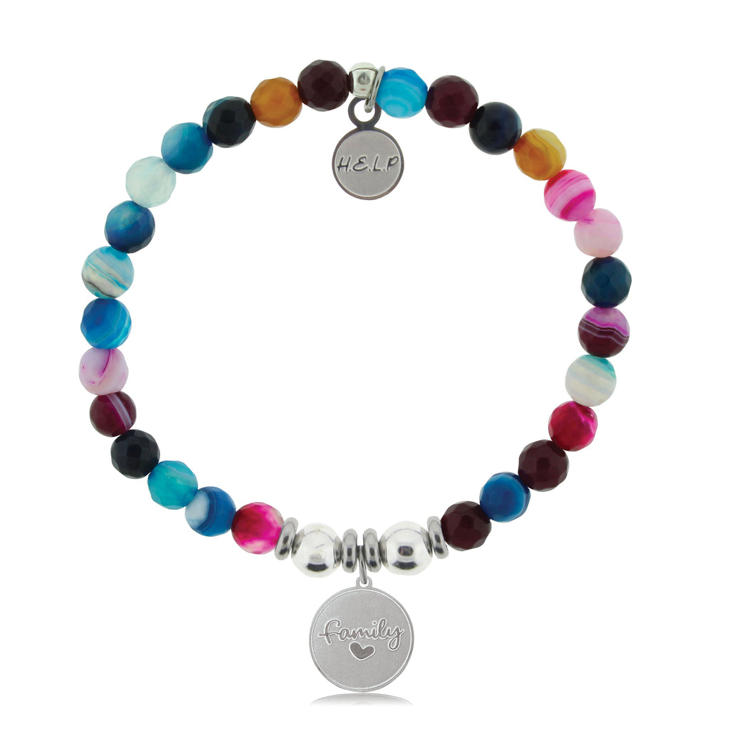 HELP by TJ Family Charm with Multi Color Agate Beads Charity Bracelet