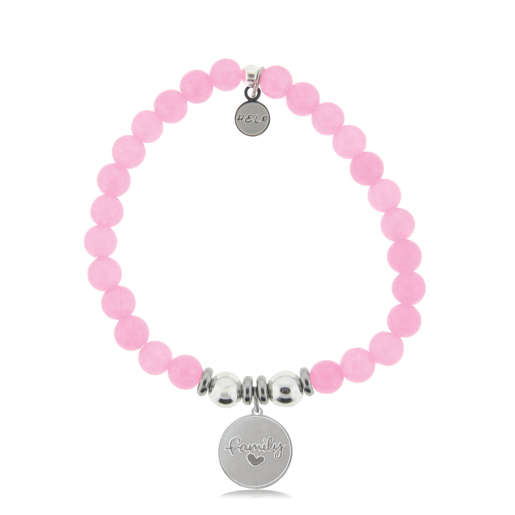 HELP by TJ Family Charm with Pink Agate Beads Charity Bracelet