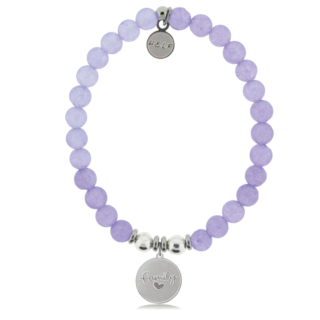 HELP by TJ Family Charm with Purple Jade Beads Charity Bracelet