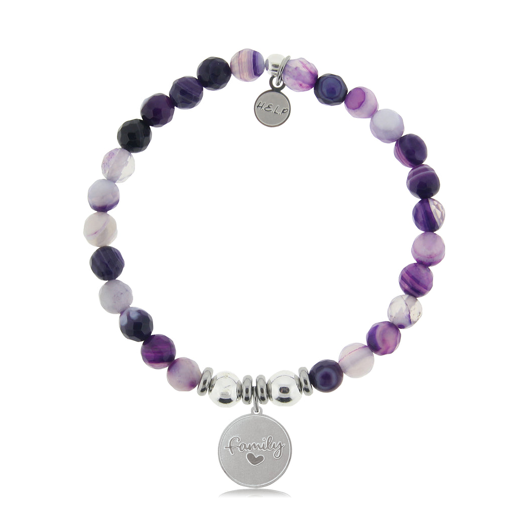 HELP by TJ Family Charm with Purple Stripe Agate Beads Charity Bracelet
