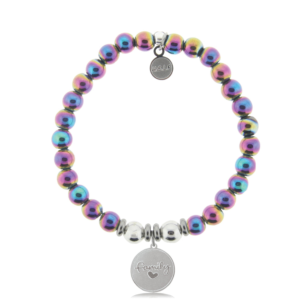 HELP by TJ Family Charm with Rainbow Hematite Beads Charity Bracelet