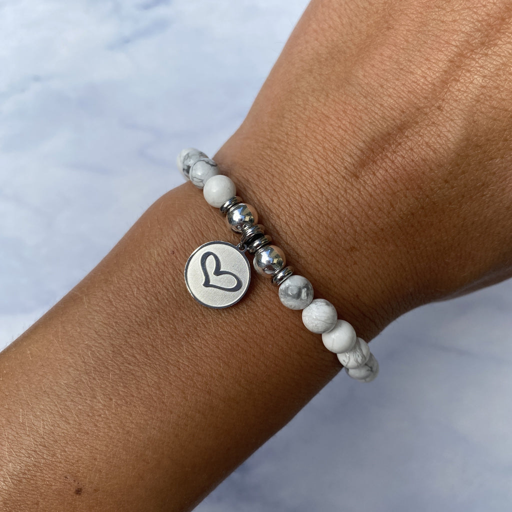HELP by TJ Heart Charm with Howlite Beads Charity Bracelet