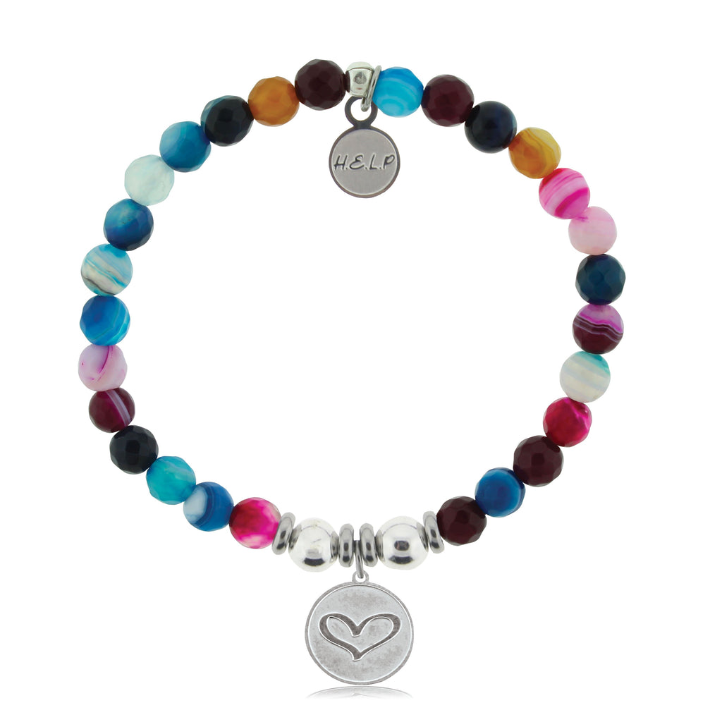 HELP by TJ Heart Charm with Multi Color Agate Beads Charity Bracelet