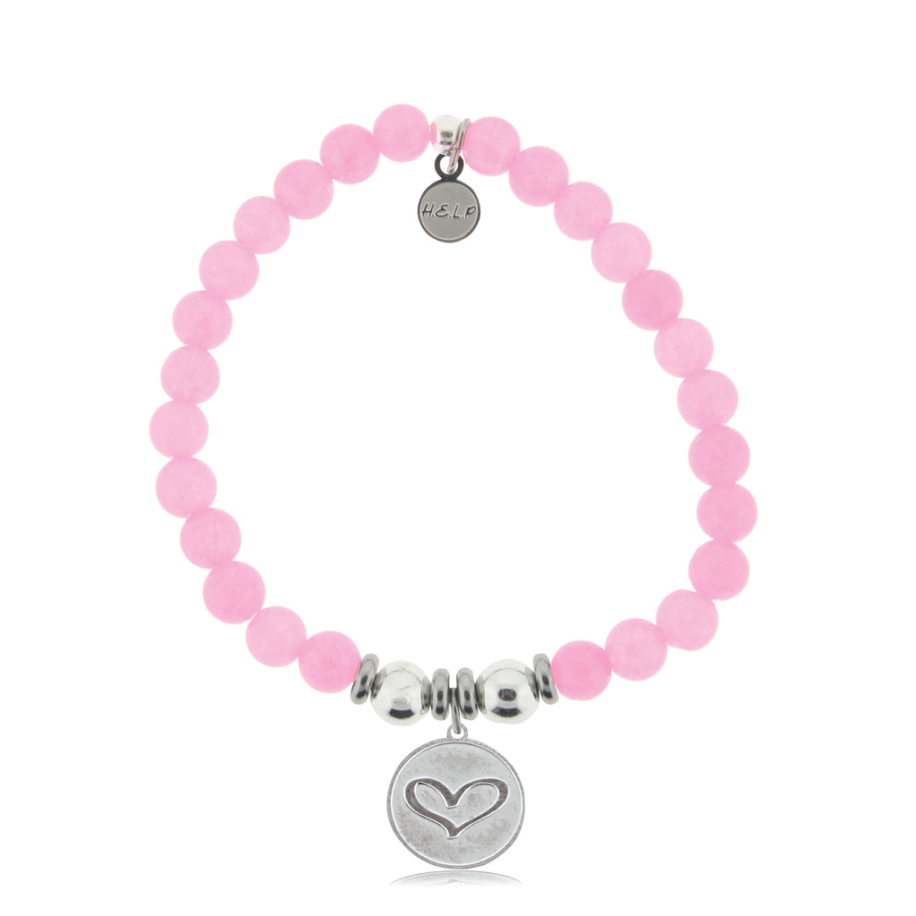 HELP by TJ Heart Charm with Pink Agate Beads Charity Bracelet