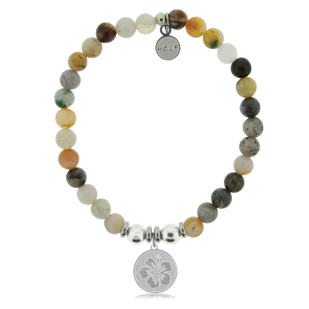 HELP by TJ Hibiscus Charm with Montana Agate Beads Charity Bracelet