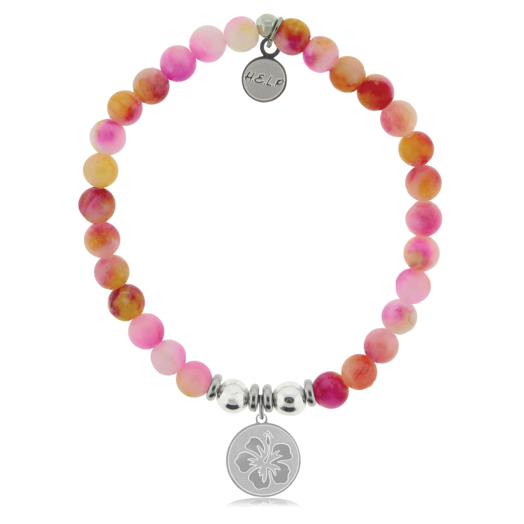 HELP by TJ Hibiscus Charm with Persia Jade Beads Charity Bracelet