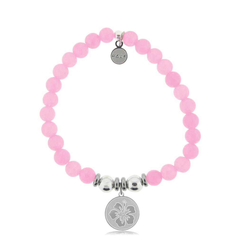 HELP by TJ Hibiscus Charm with Pink Agate Beads Charity Bracelet