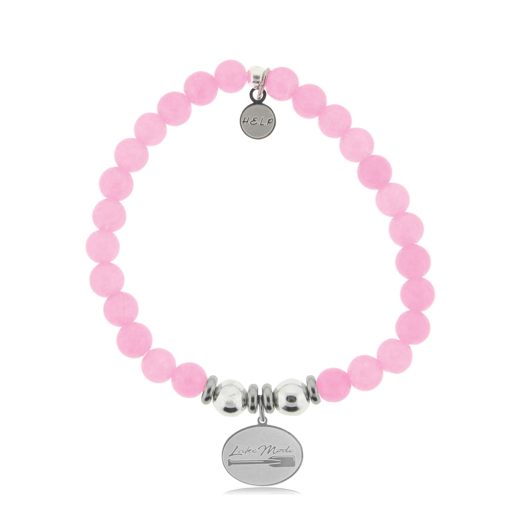 HELP by TJ Lake Mode Charm with Pink Agate Beads Charity Bracelet