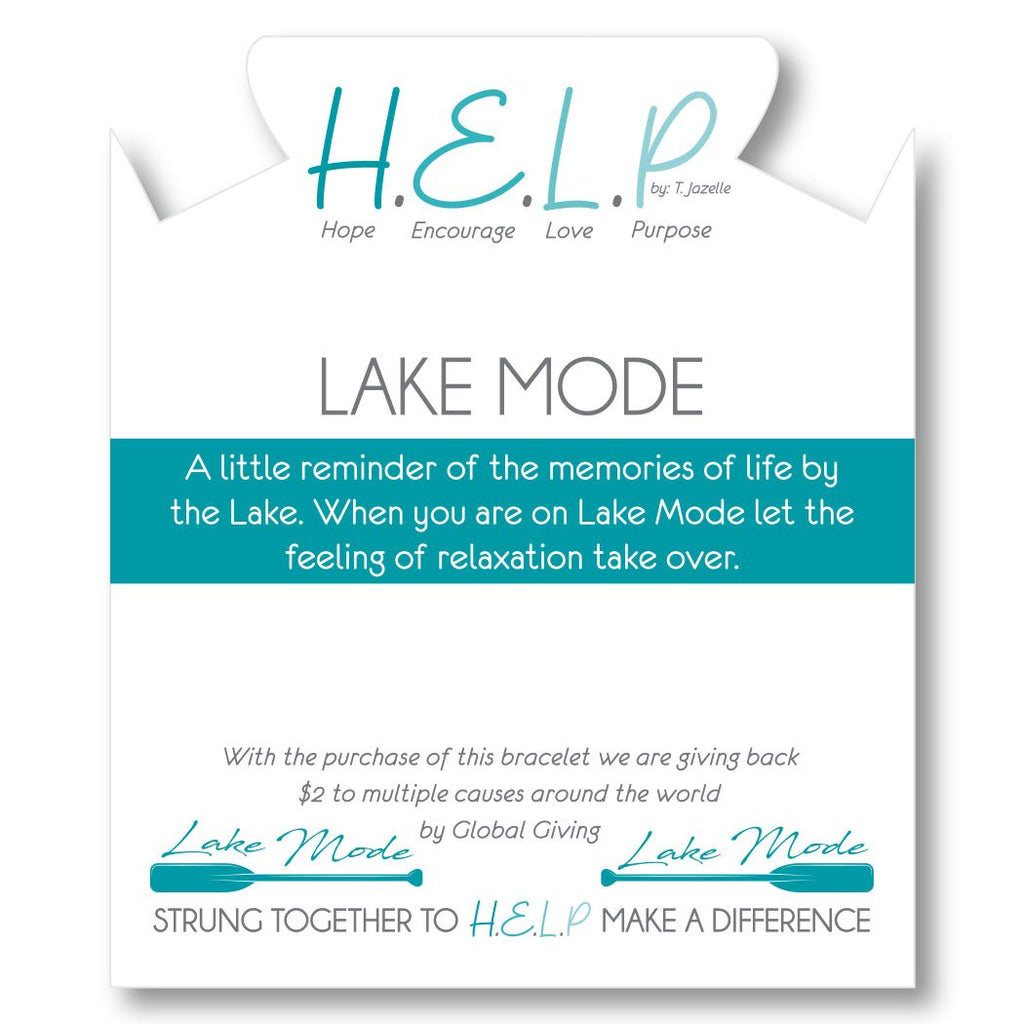 HELP by TJ Lake Mode Charm with Turquoise Beads Charity Bracelet
