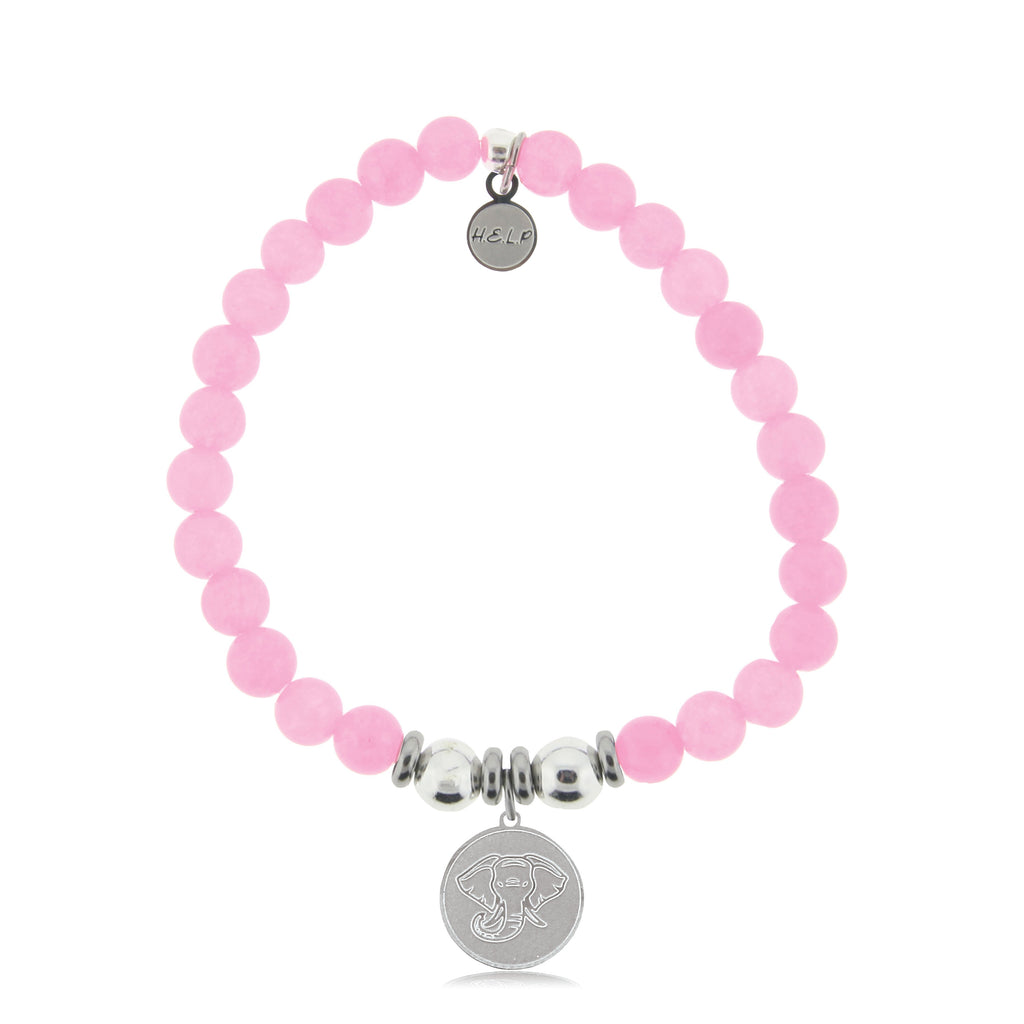 HELP by TJ Lucky Elephant Charm with Pink Agate Beads Charity Bracelet