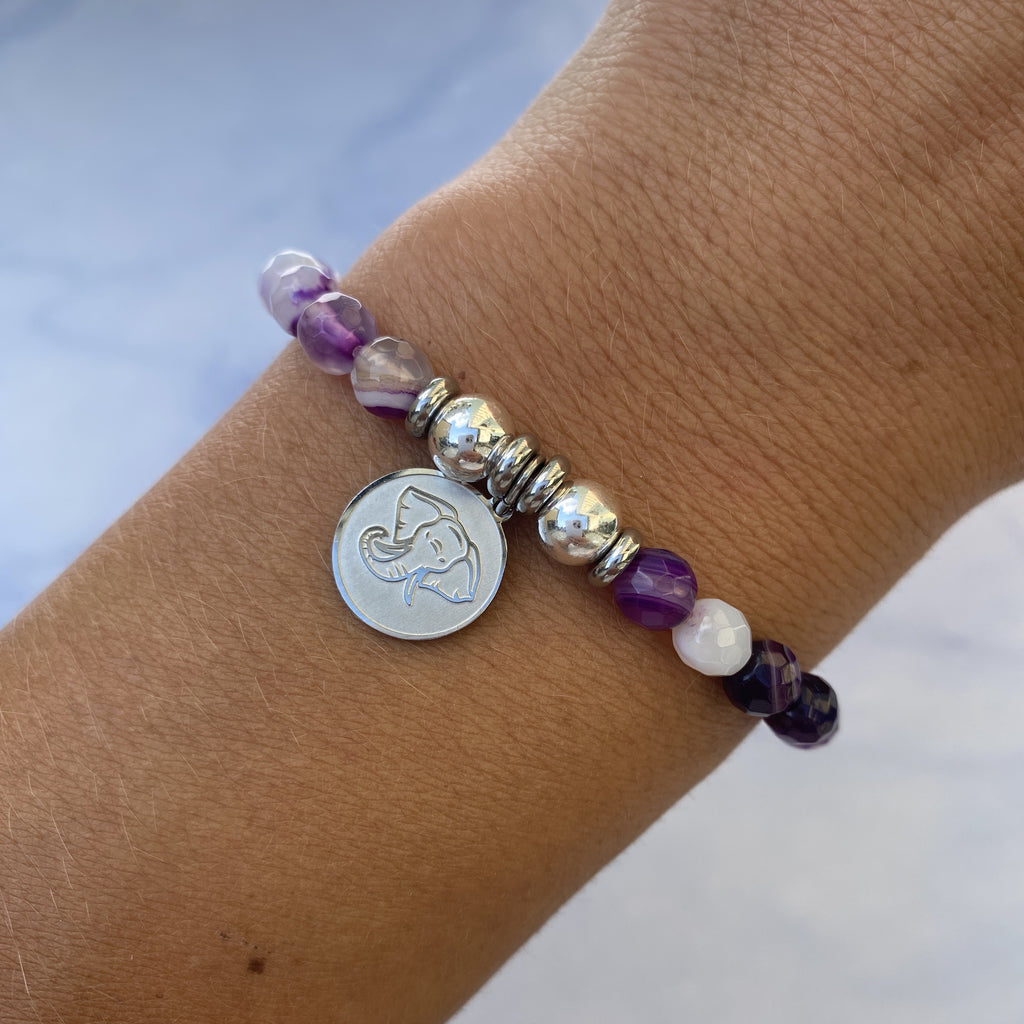 HELP by TJ Lucky Elephant Charm with Purple Stripe Agate Beads Charity Bracelet