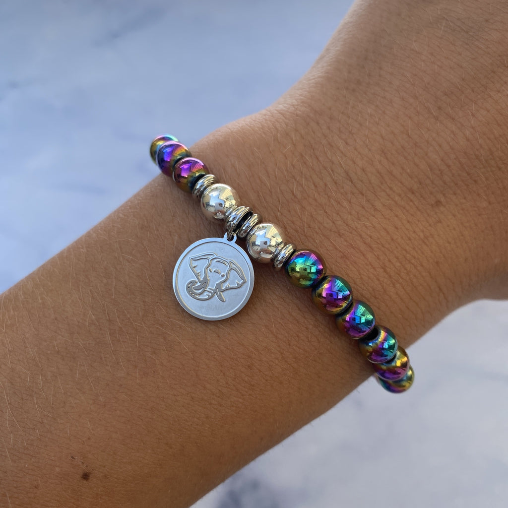 HELP by TJ Lucky Elephant Charm with Rainbow Hematite Beads Charity Bracelet