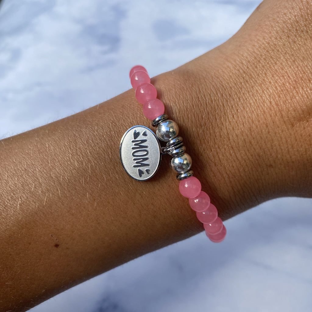 HELP by TJ Mom Charm with Pink Agate Beads Charity Bracelet