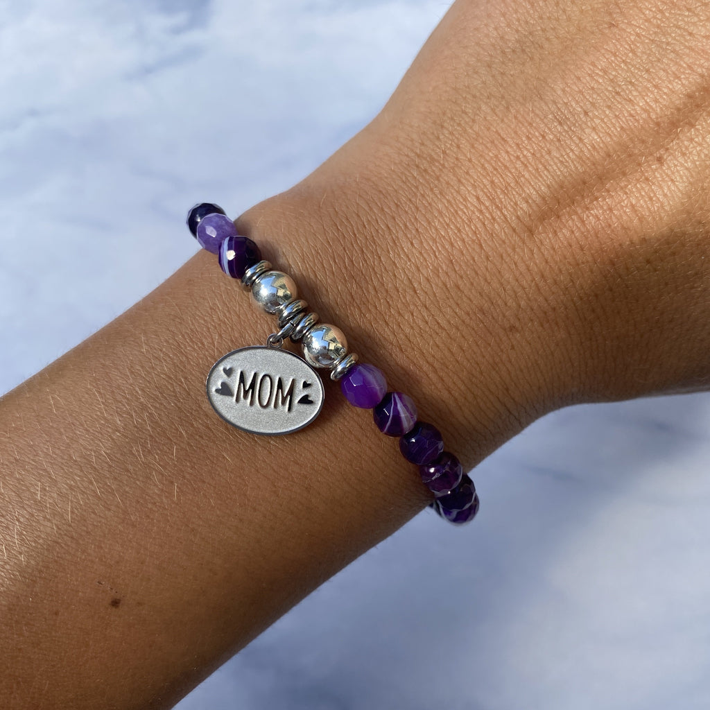 HELP by TJ Mom Charm with Purple Stripe Agate Beads Charity Bracelet