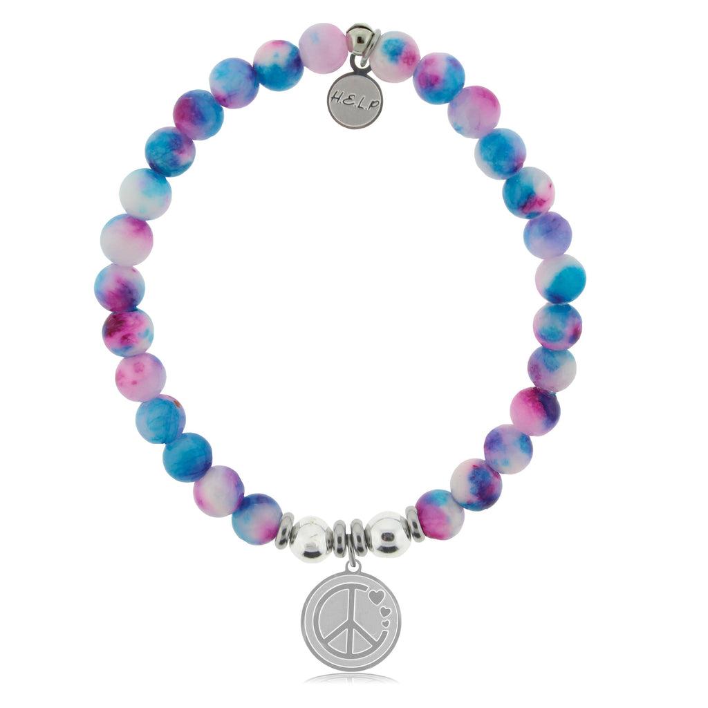 HELP by TJ Peace & Love Charm with Cotton Candy Jade Beads Charity Bracelet
