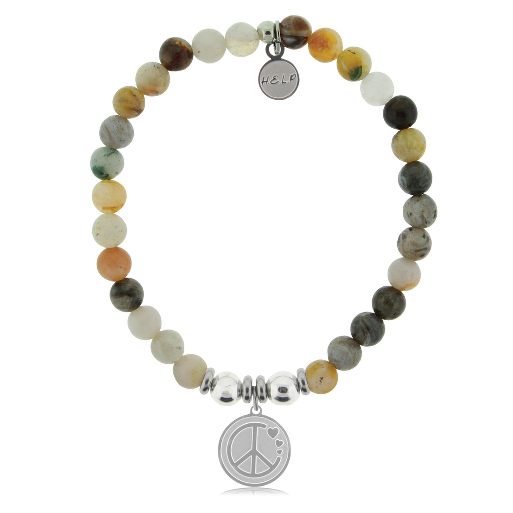HELP by TJ Peace & Love Charm with Montana Agate Beads Charity Bracelet