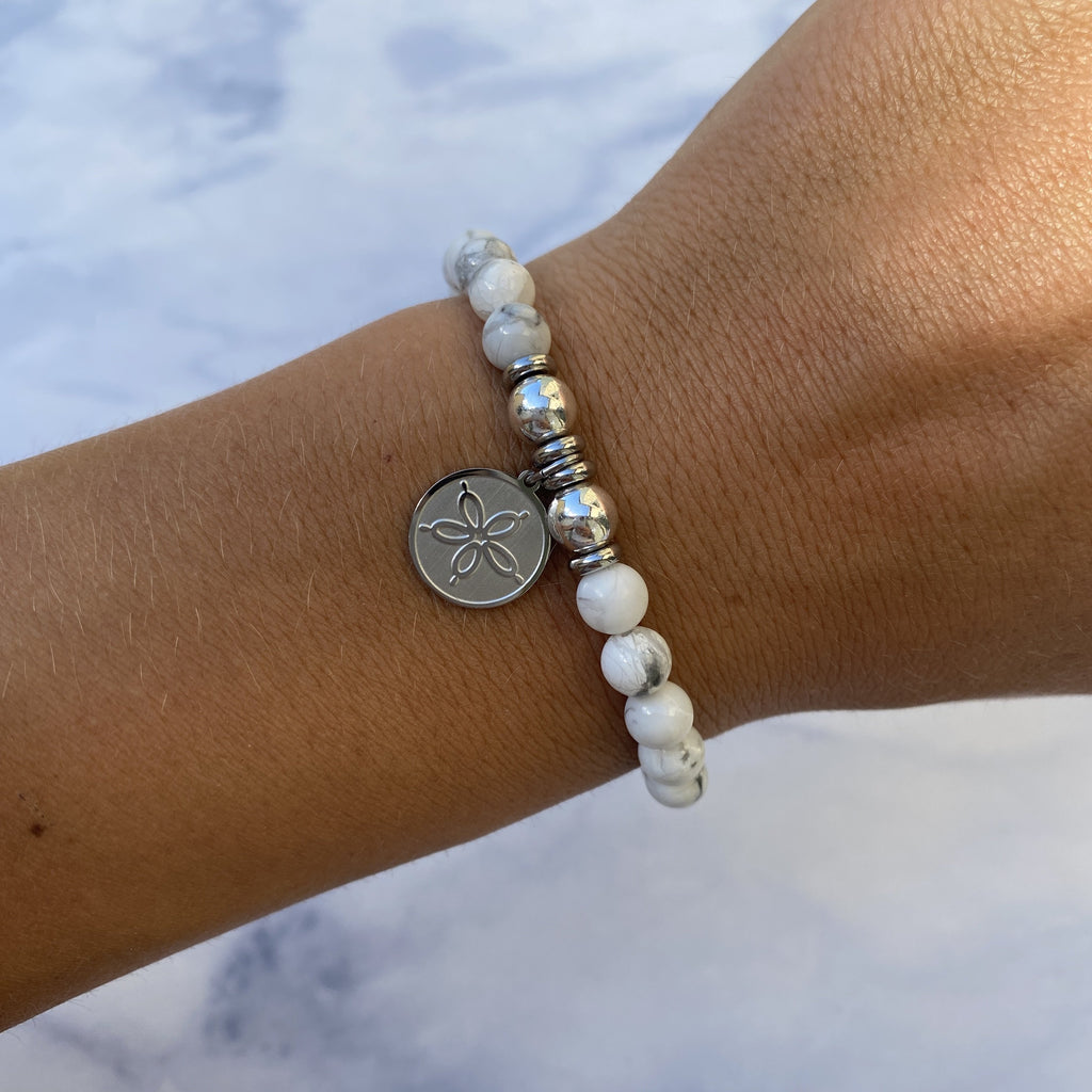 HELP by TJ Sand Dollar Charm with Howlite Beads Charity Bracelet