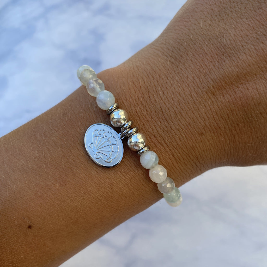 HELP by TJ Seashell Charm with Light Blue Agate Beads Charity Bracelet