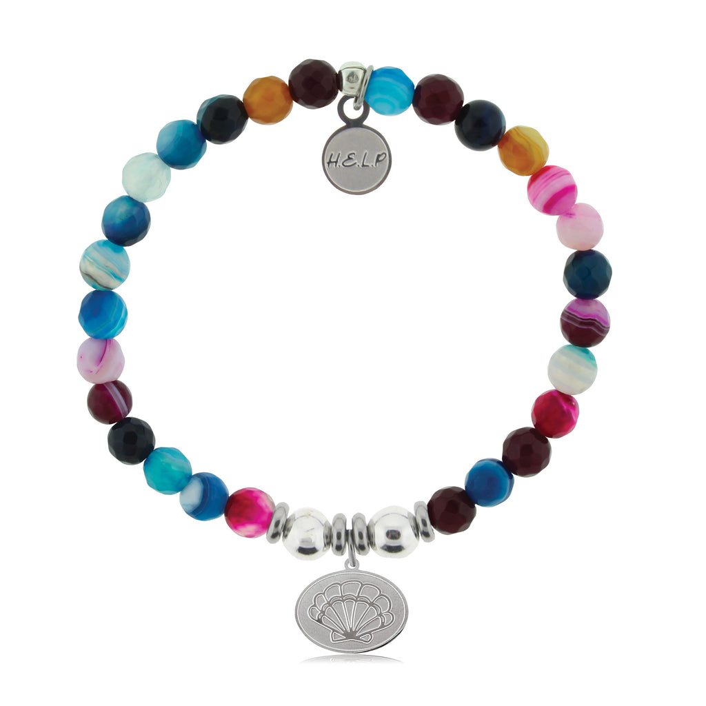 HELP by TJ Seashell Charm with Multi Color Agate Beads Charity Bracelet
