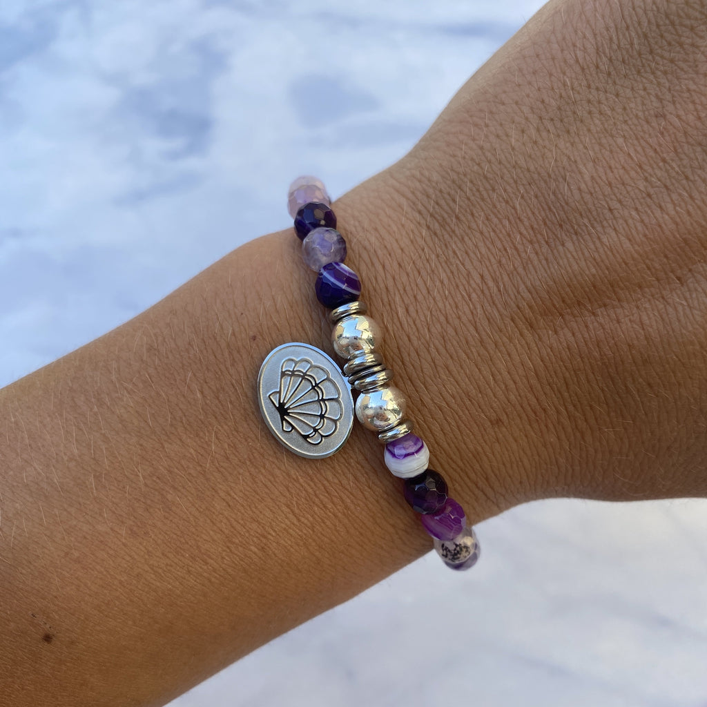 HELP by TJ Seashell Charm with Purple Stripe Agate Beads Charity Bracelet