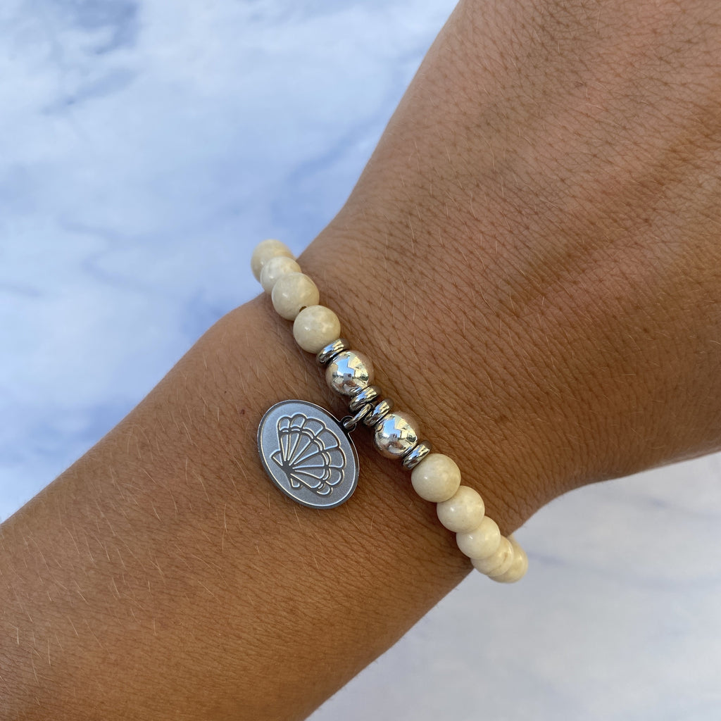HELP by TJ Seashell Charm with Riverstone Beads Charity Bracelet