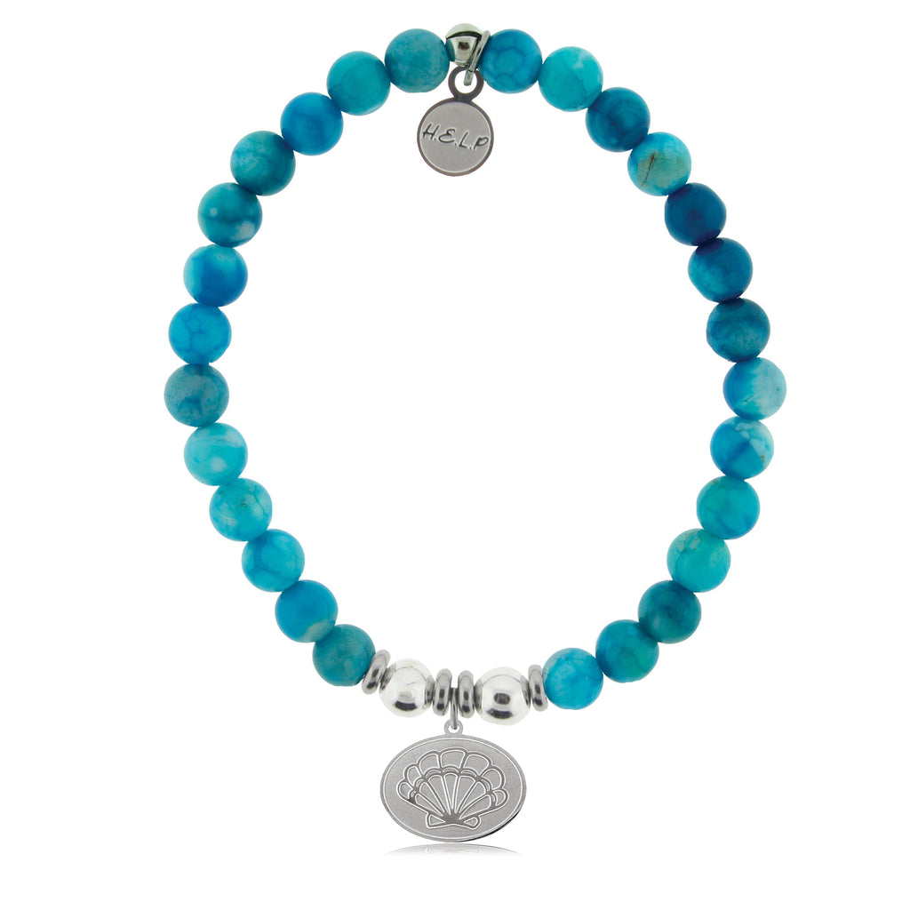 HELP by TJ Seashell Charm with Tropic Blue Agate Beads Charity Bracelet